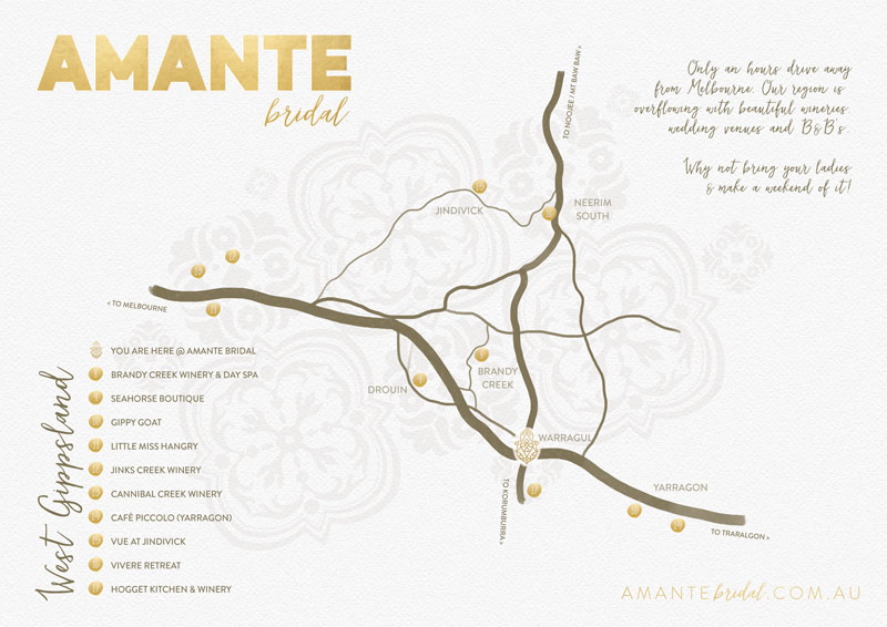 Amante Bridal | Warragul Map