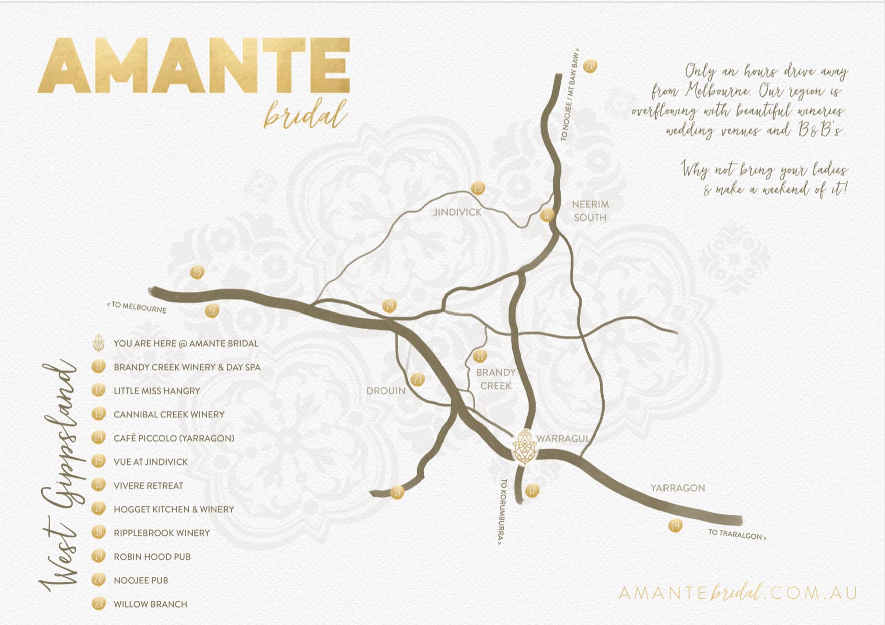 Amante Bridal | Warragul Map